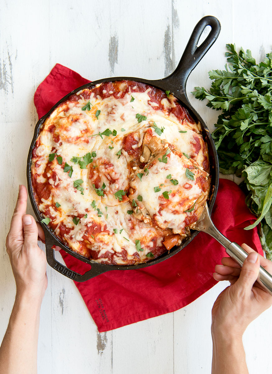 Easy One Pot Skillet Vegetarian Lasagna with Pierogies Recipe