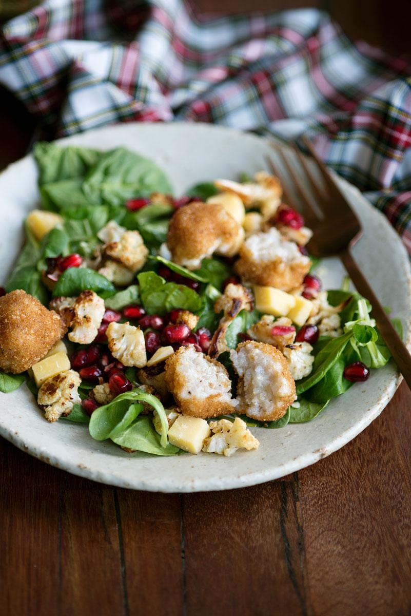 Winter Salad Recipe with Roasted Cauliflower, Pomegranates, Gouda & Arancini