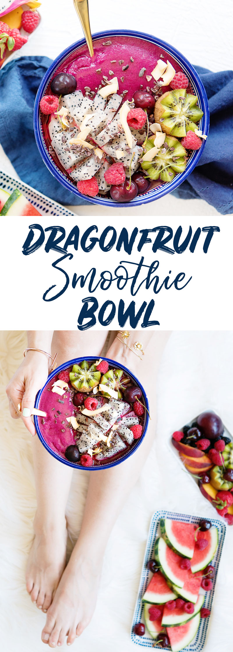 Colorful Smoothie Bowl Dragonfruit Topped with Fresh Fruit Recipe