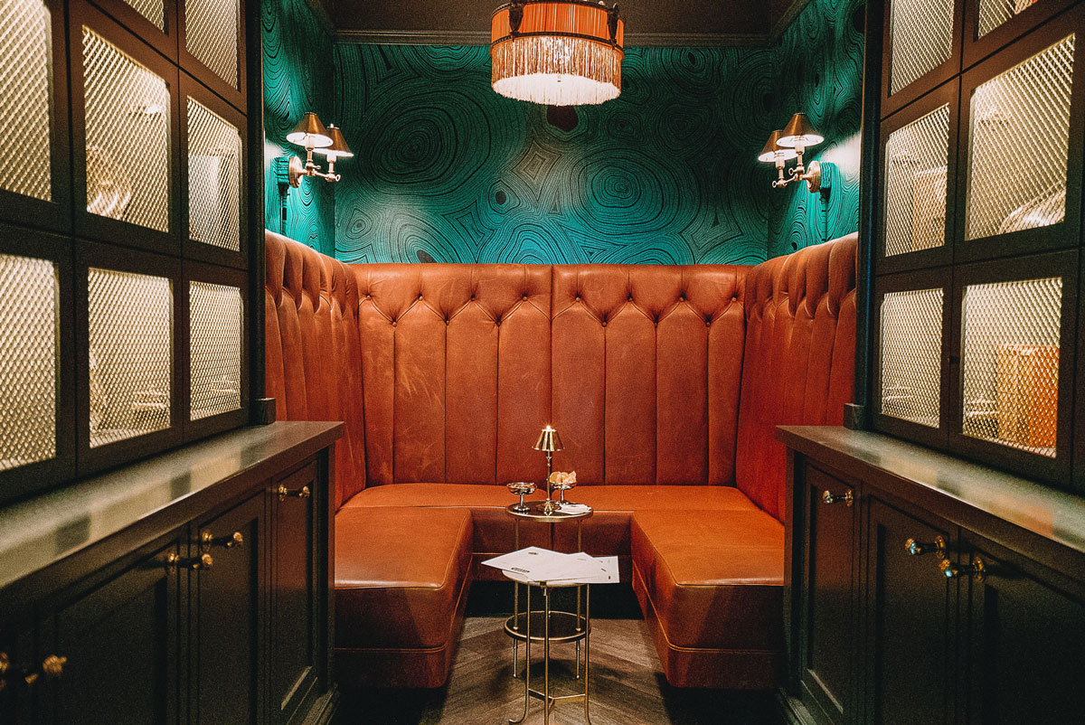 Private Bank Vault Lounge with Malachite Wallpaper The Sequoia San Francisco