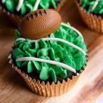 Easy Superbowl Football Cupcakes with Piped Grass Frosting