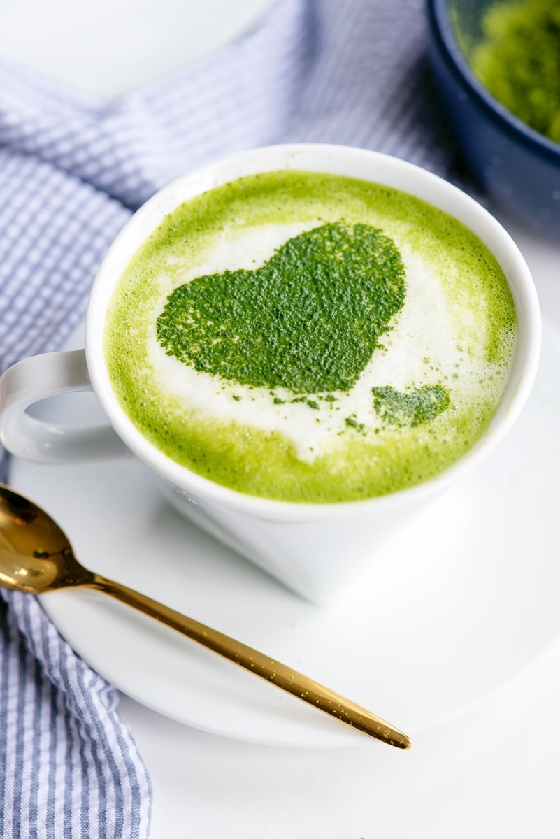 Easy Homemade Matcha Latte with Heart Latte Art