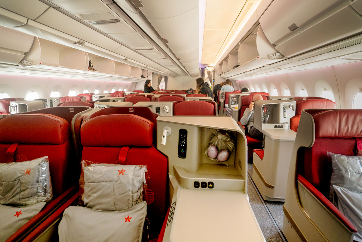 Direct Flight Hong Kong Airlines San Francisco to Hong Kong Airlines Business Class Seats Review