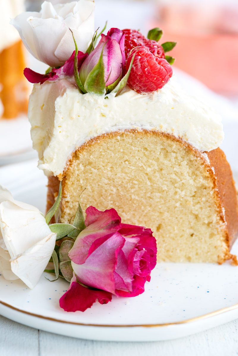 Vanilla Bundt Cake Recipe with Rosewater Buttercream Topped with Edible Flowers