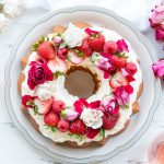 Wedding, Valentine's or Birthday Cake Topped with Strawberries, Fruit, Flowers and Roses