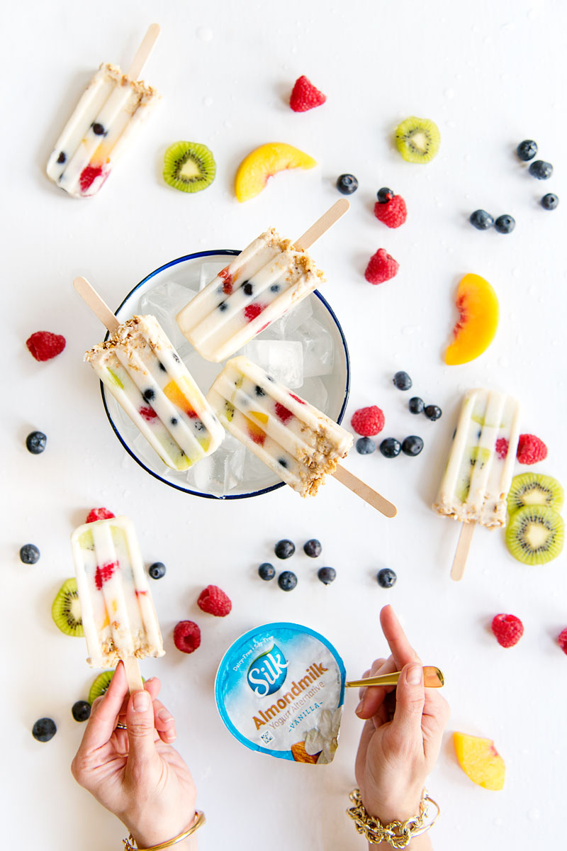 Healthy Breakfast Popsicles Recipe with Fruit, Granola and Almond Milk