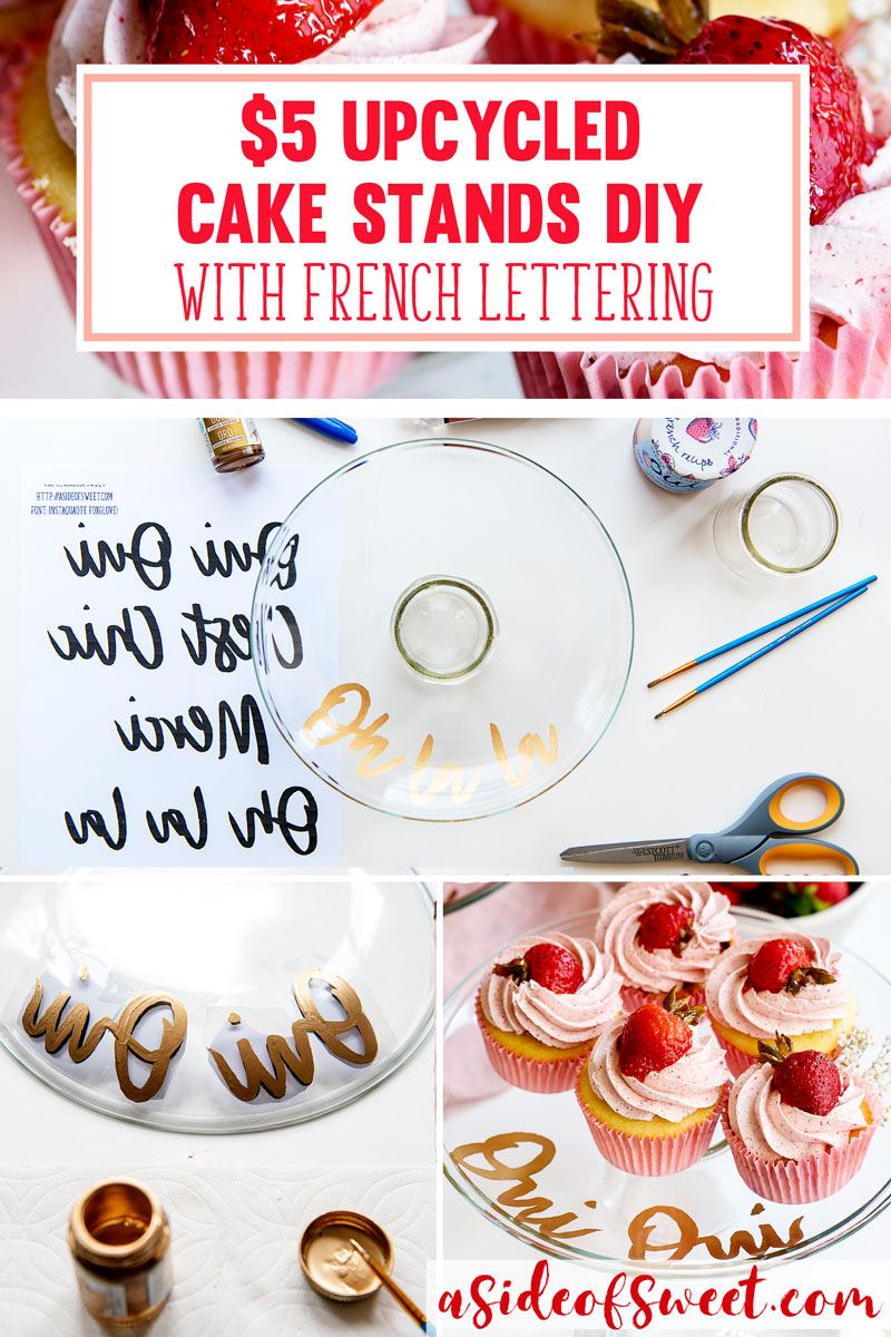 Anthropologie Target Inspired DIY Upcycled Cake Stands Gold Lettering