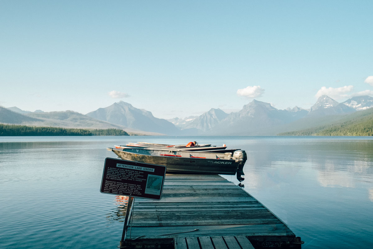 Apgar Lake McDonald Boat Dock Glacier National Park Montana