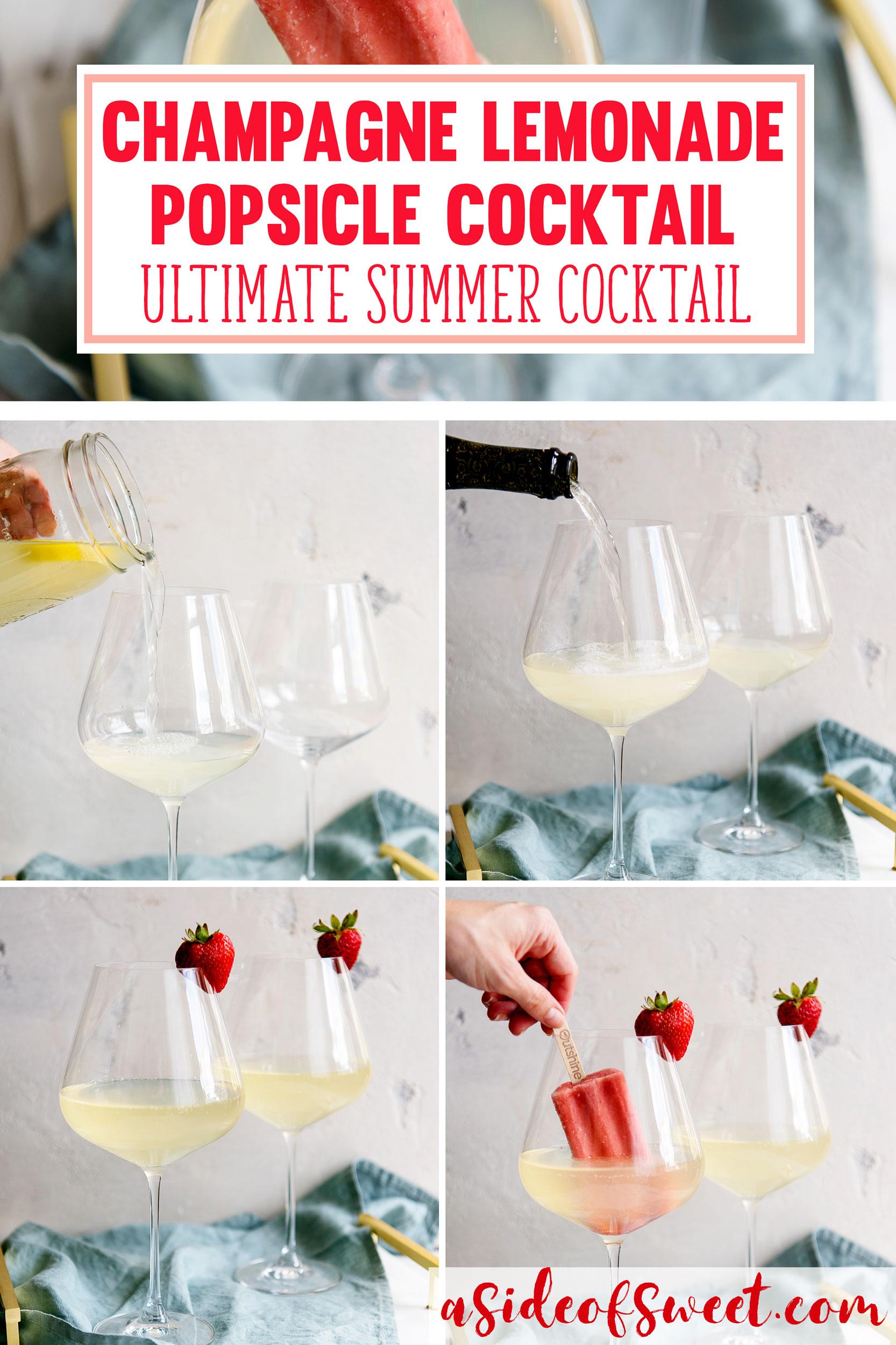 Champagne Lemonade Summer Cocktail Recipe - Strawberry Lemonade Popsicle Alcoholic Drink Poptail #Recipe #Recipes #Summer #Cocktail