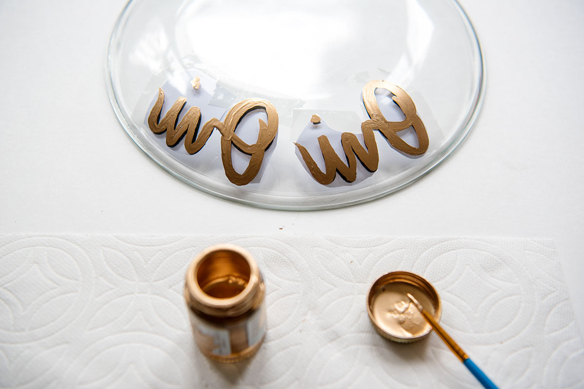 DIY Cake Stands Gold French Lettering - Easy Wedding Decor Idea