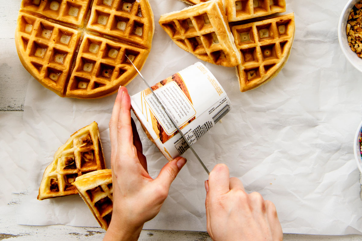 Easy Homemade Waffle Ice Cream Sandwiches Recipe