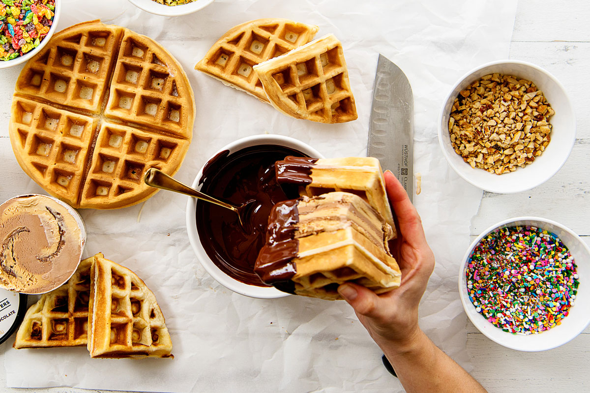 Easy Homemade Waffle Ice Cream Sandwiches Recipe