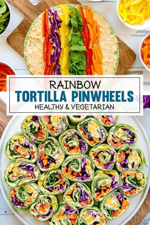 Rainbow Tortilla Rollups Recipe - Healthy Vegetarian Appetizer