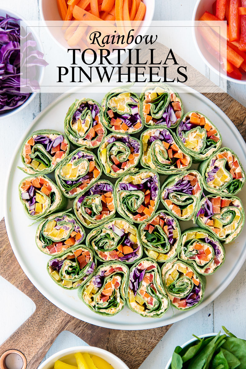 Rainbow Tortilla Pinwheels Healthy Vegetarian Appetizer Recipe A