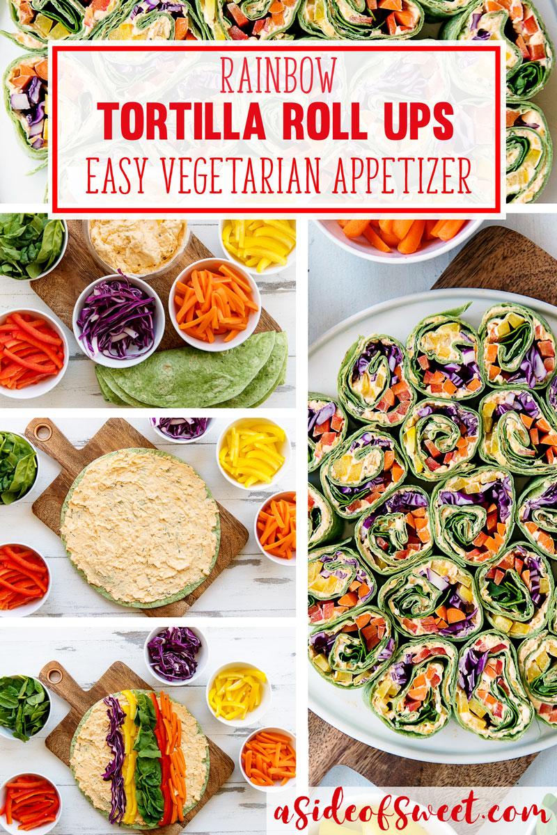 Rainbow Tortilla Pinwheels Recipe - Healthy Vegetarian Appetizer