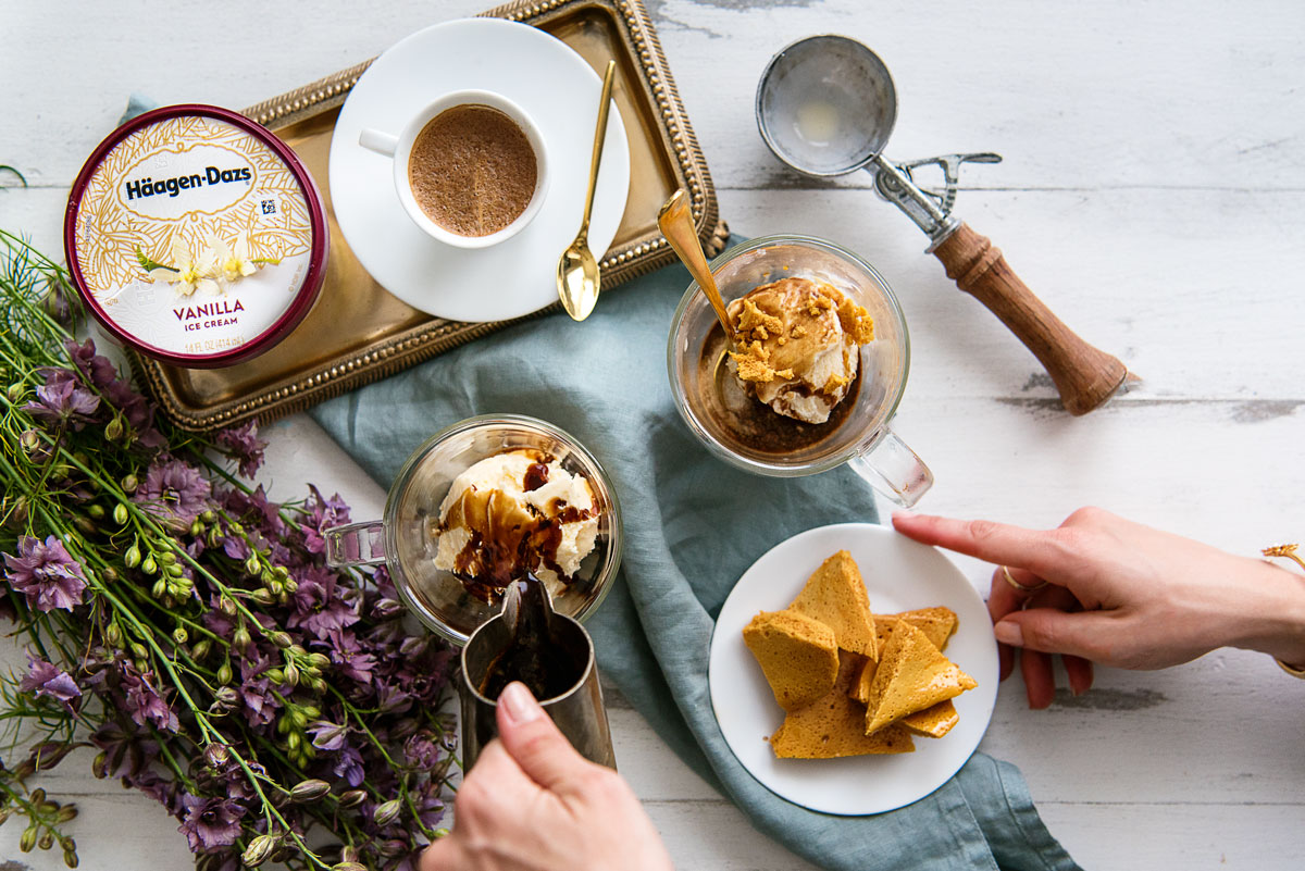 How to Make an Affogato Recipe Topped with Honeycomb Candy