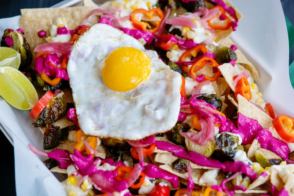 Homemade Nachos Recipe Brussels Sprouts & Beet Crema - Diego Pops