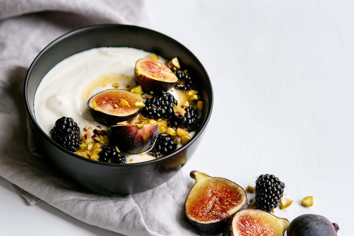 Homemade Yogurt Bowls Recipe with Fig, Honey & Pistachios