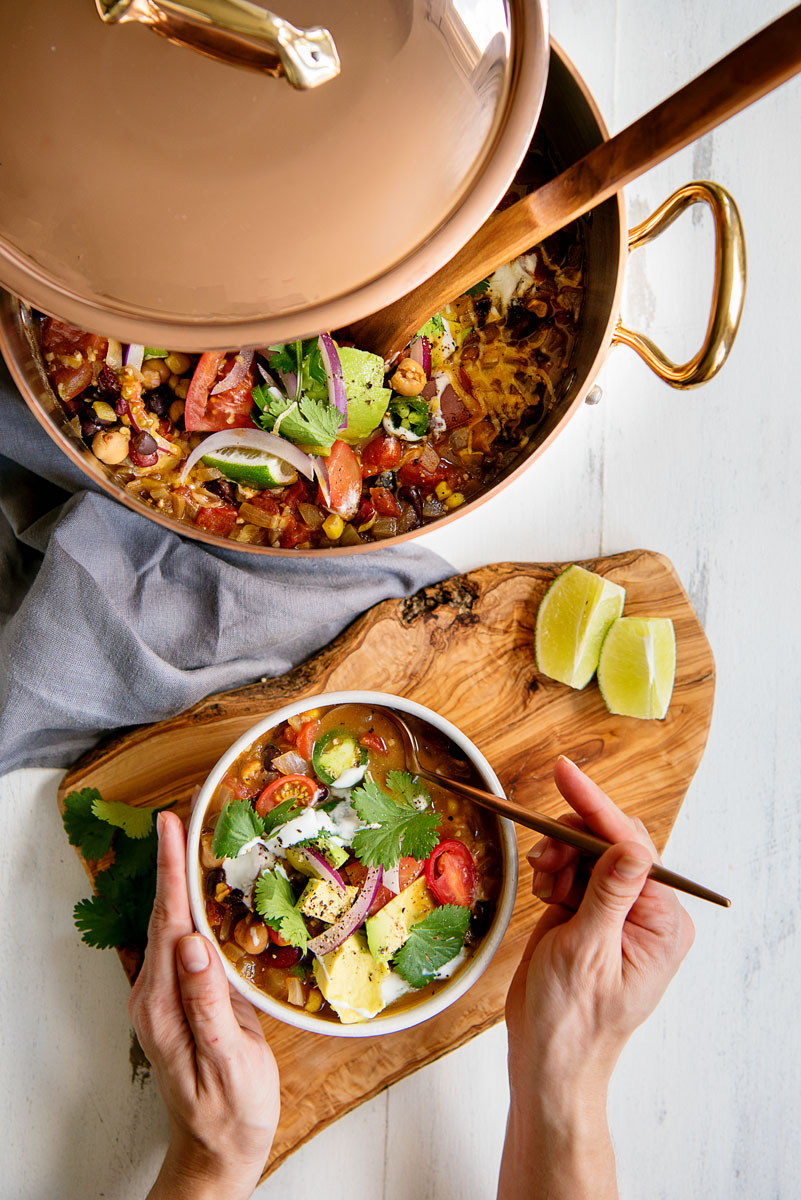 One Pot Easy Stovetop Vegetarian Taco Soup Recipe
