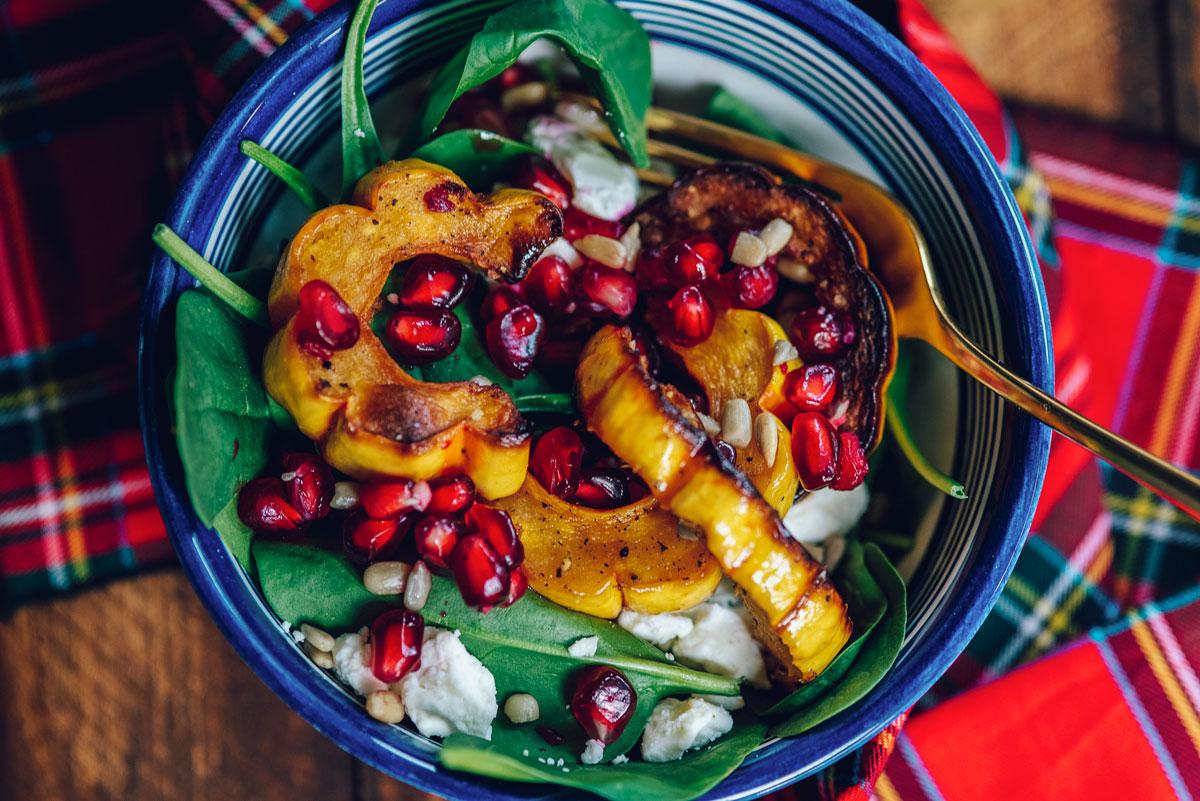 Easy Winter Salad Recipe with Delicata Squash, Feta, Pomegranate and Spinach