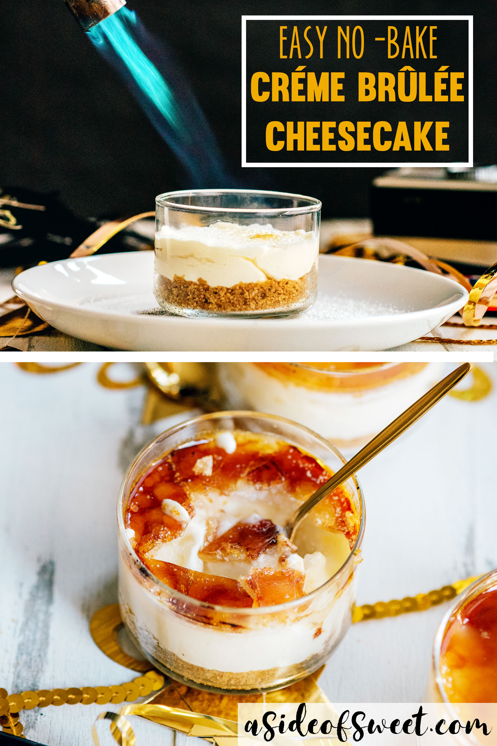 No Bake Creme Brulee Cheesecake - Easy New Year's Recipe
