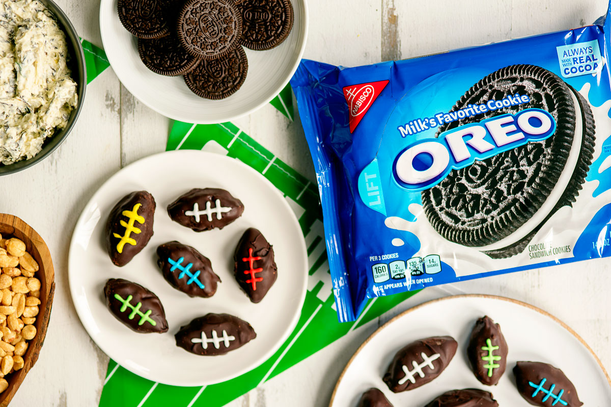 Superbowl Party Food Ideas - Oreo Football Shaped Snacks