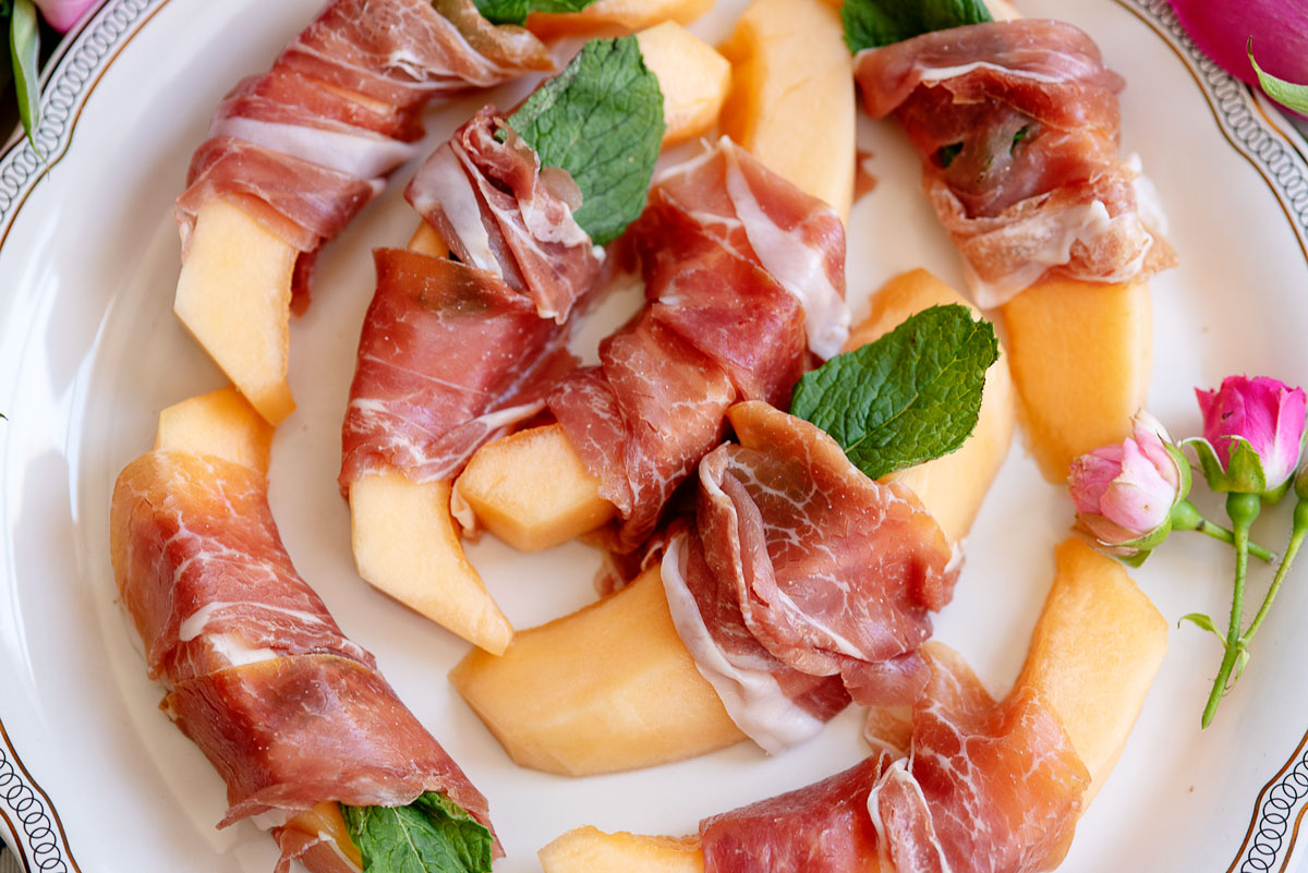Kentucky Derby Party Ideas, Food Recipes - Prosciutto Wrapped Melon