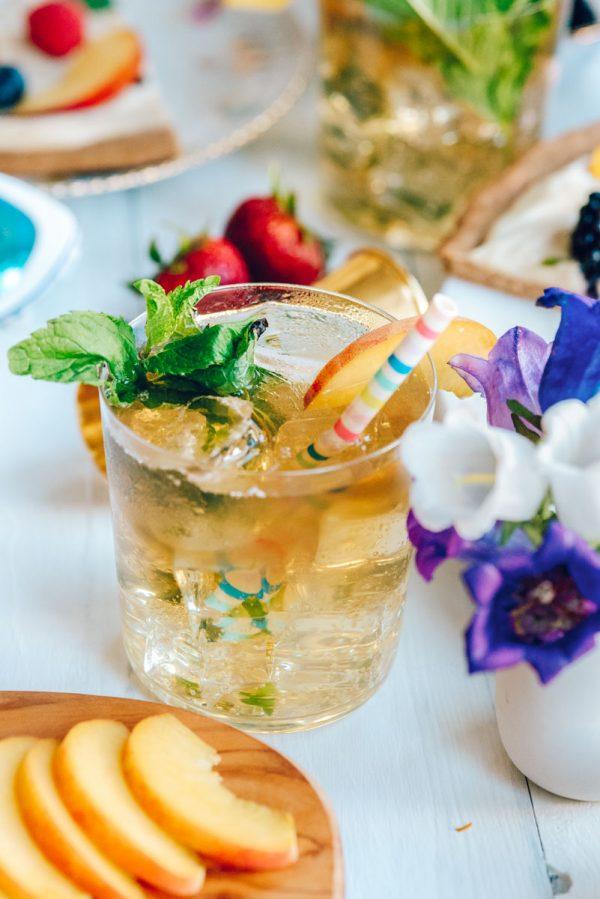 Bourbon Peach Smash Cocktail Recipe for Summer