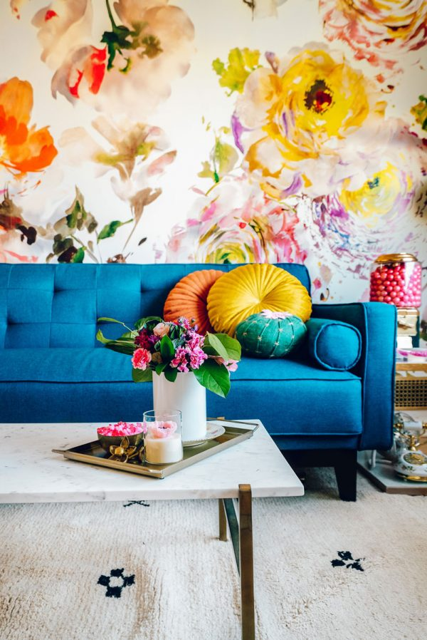 Colorful and Modern Home Office Floral Theme Remodel
