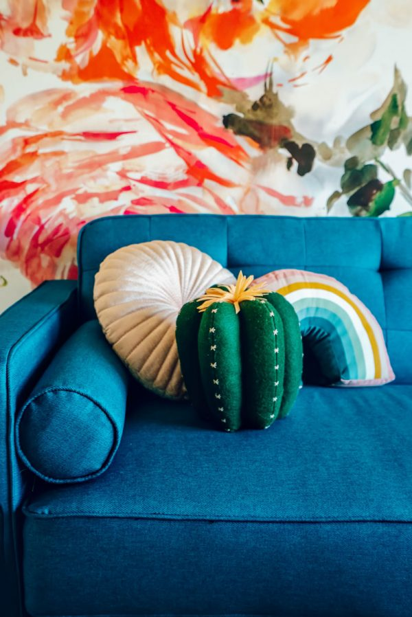 Modern Sofa Futon Colorful Pillows Idea