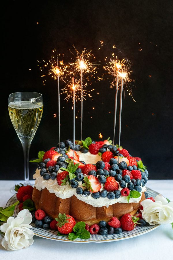 Red White Blue 4th of July Cake with Sparklers